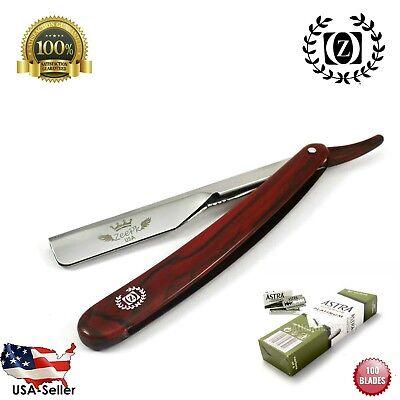 Straight Razor Holder Shave Barber with 100 Astra Barber Blades Razor Best