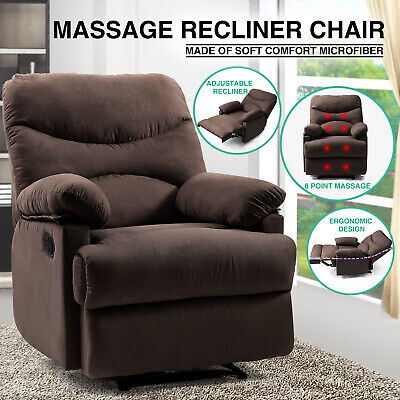 Brown Massage Heated Recliner Chair Lounge Sofa Microfiber Ergonomic w/Control ()