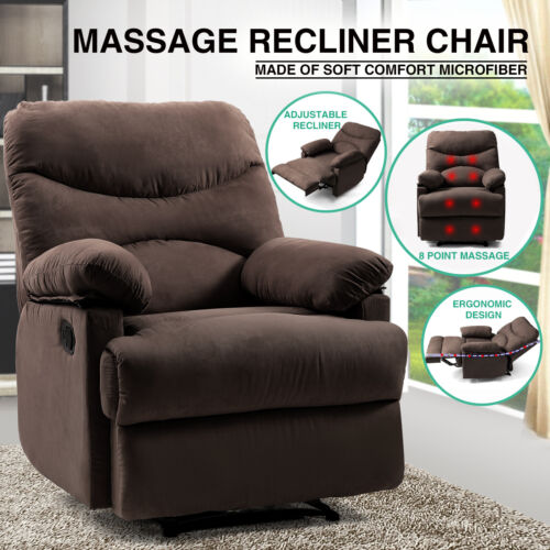 Brown Massage Heated Recliner Chair Lounge Sofa Microfiber E