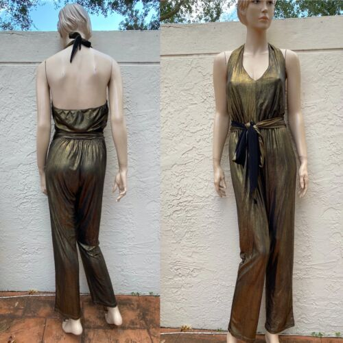 SEXY ANTIQUE GOLD HALTER OPEN BACK JUMPSUIT DISCO FEVER