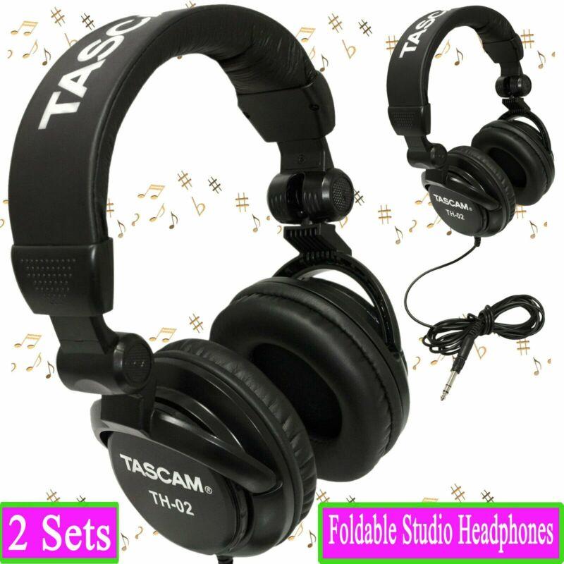 TASCAM TH-02 Foldable Recording Mixing Home Studio Headphones - Black (2 Sets)