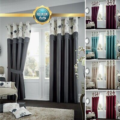 Luxury Fully Lined Ready Made KOH Eyelet Curtains Floral Ring Top with Tie Backs