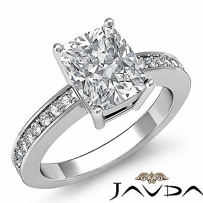 Brilliant Cushion Diamond Pave Set Engagement Ring GIA I SI1 Platinum 1.25 ct