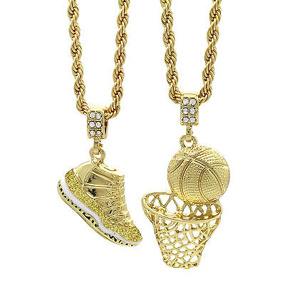 """Gold Plated Retro 11 """"Championship"""" & Basketball Pendant 4mm 30"""" Rope Chains"""