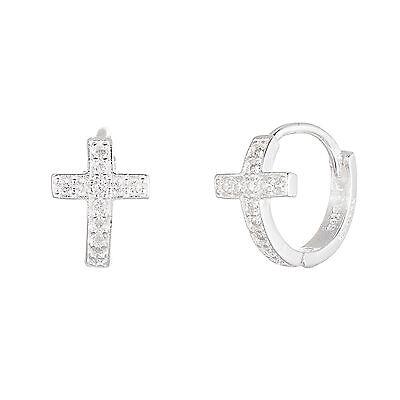 18K White Gold Sterling Silver Cubic Zirconia Cross Huggie Earrings
