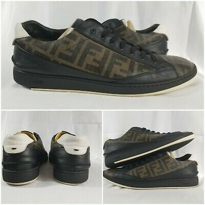 Fendi Roma Zucca Leather Low Top Sneakers Men Shoes Brown Black Size 12