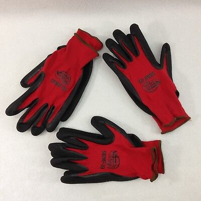 3 Pair Super Grip Work Gloves Automotive Construction Landscaping Nitrile Sm-xl