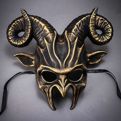 Gold Black Scary Animal Ram Goat Mask Masquerade Halloween Party Prom Costume