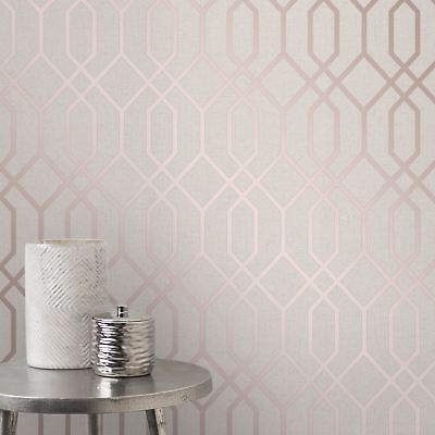 QUARTZ TRELLIS GEOMETRIC WALLPAPER METALLIC - FINE DECOR FD42306 ROSE GOLD BEIGE
