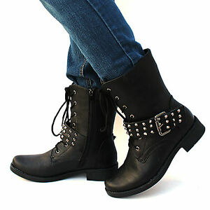 Innovative Womens Black Studded Spike Zip Combat Boots US 6  11 Lady Military