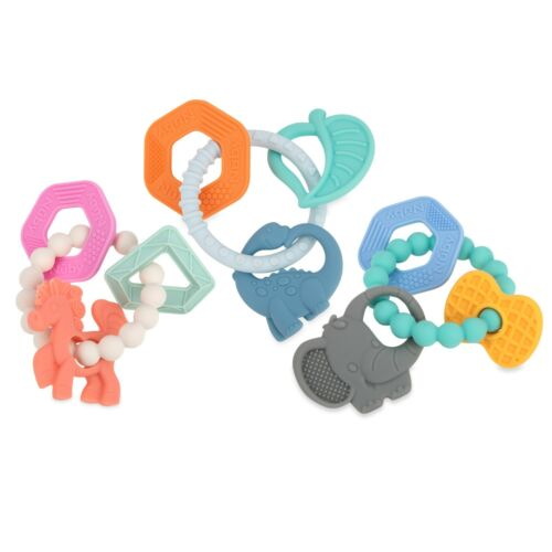 Nuby Chewy Charms Teether - 100% Silicone - 3+ Months - BPA Free