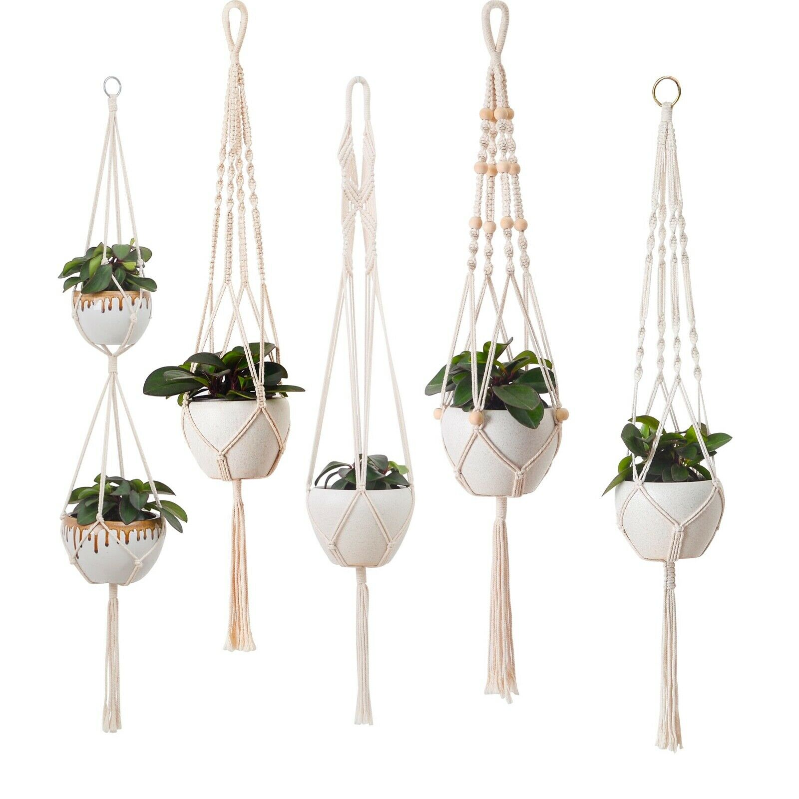 5 Piece Set Macrame Plant Hangers Macrame Plant Hanger With Hooks Home & Garden