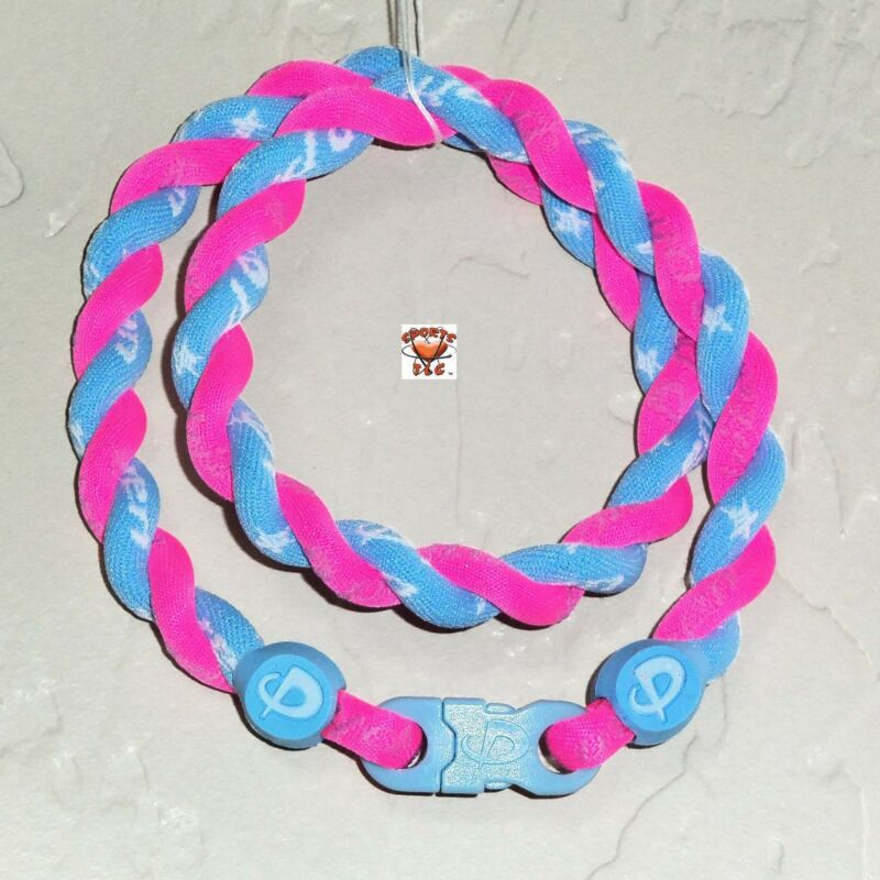 Phiten Tornado Necklace Custom: Hot Pink/Carolina Blue
