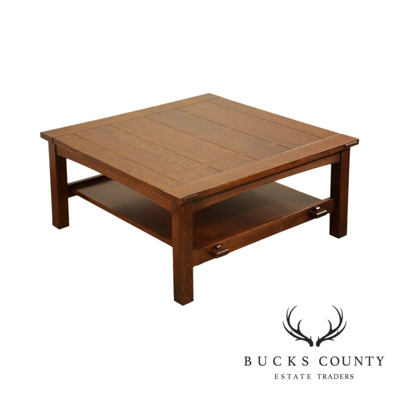Stickley Mission Collection Oak Butterfly Top Cocktail Coffee Table