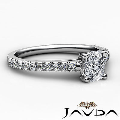 French V Pave Women's Cushion Diamond Engagement Cathedral Ring GIA G VS1 0.75Ct 2