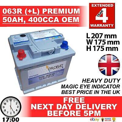 Type 063 50Ah 400CCA Exide Excell EB621  063R 12v  Car Battery 12V BOSCH EQ