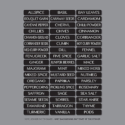 Spice Label Sticker (51 x Herb And Spice Storage Jar Labels Stickers Decals - 10mm x 48mm )