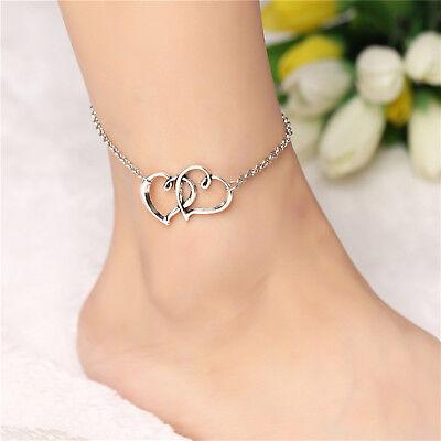 ☆ Silberne Fußkette | Herz Anhänger Doppelt | 21-26cm | Silber Edelmetall ☆