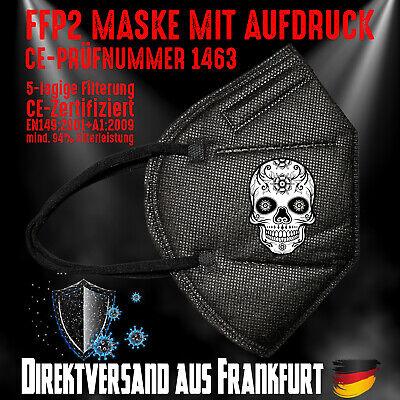 FFP2 Atemschutzmaske Mundschutz Mundmaske schwarz CE 1463 Sugar Skull Totenkopf