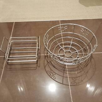 Fruit basket / bowl and matching napkin holder
