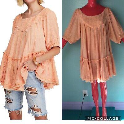 New FREE PEOPLE Orange Boho Oversize Tunic Top / Mini Dress Size L Short Sleeve