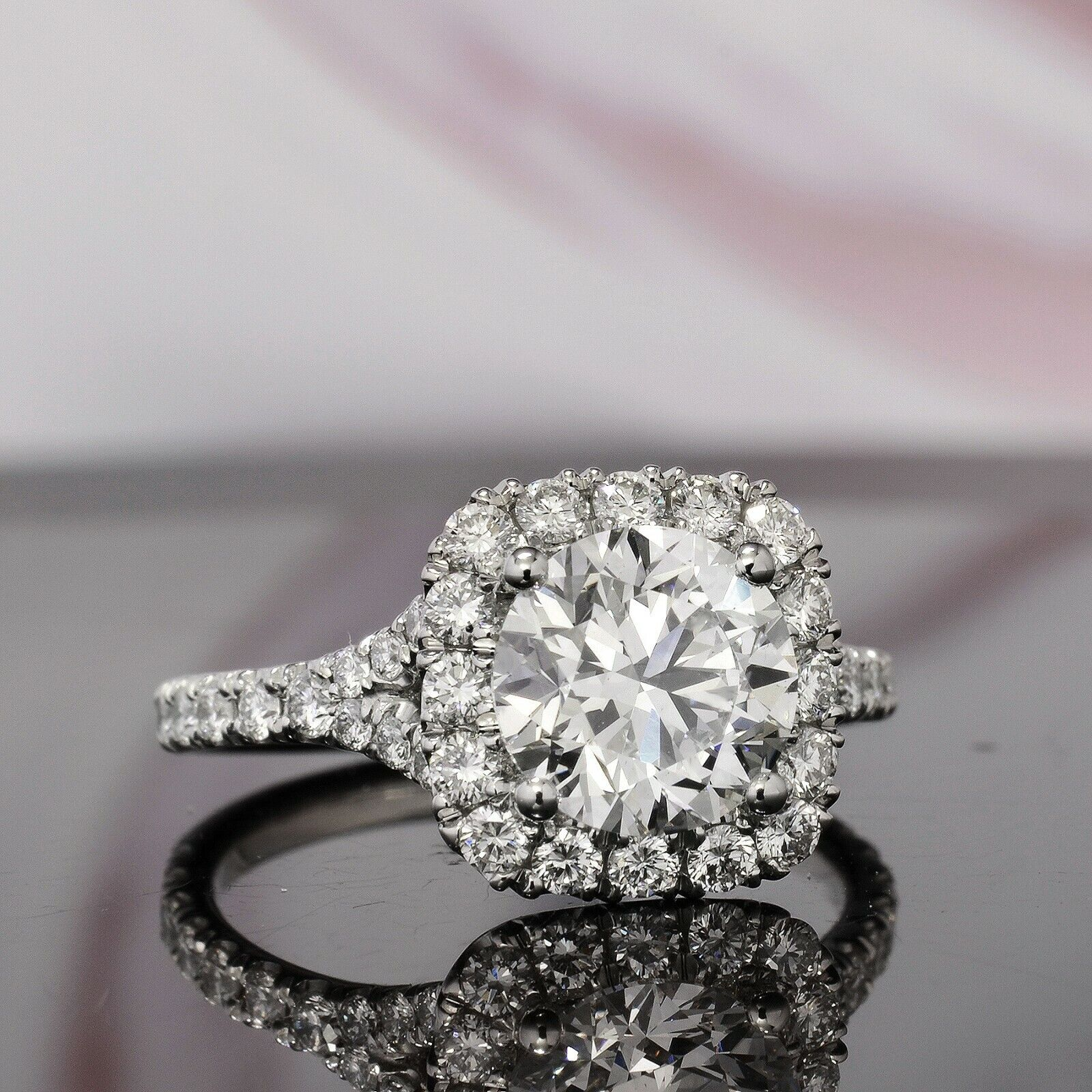 1.50CT Natural Round Cut Halo Baby Split Shank Pave Diamond Engagement Ring  GIA 1