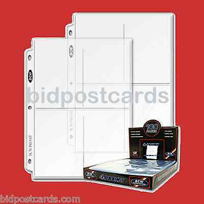 50 BCW Pro 4-Pocket Postcard Photo Archival Pro Display Page Sheets Album Refill