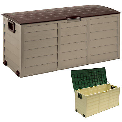Outdoor Garden Plastic Storage Lockable Utility Tool Chest Cushion Shed Box 290L