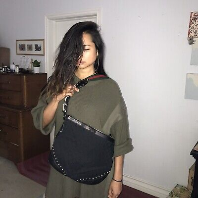 Vintage New Gucci horsebit studds edgy Monogram shoulder Crossbody Bag Black