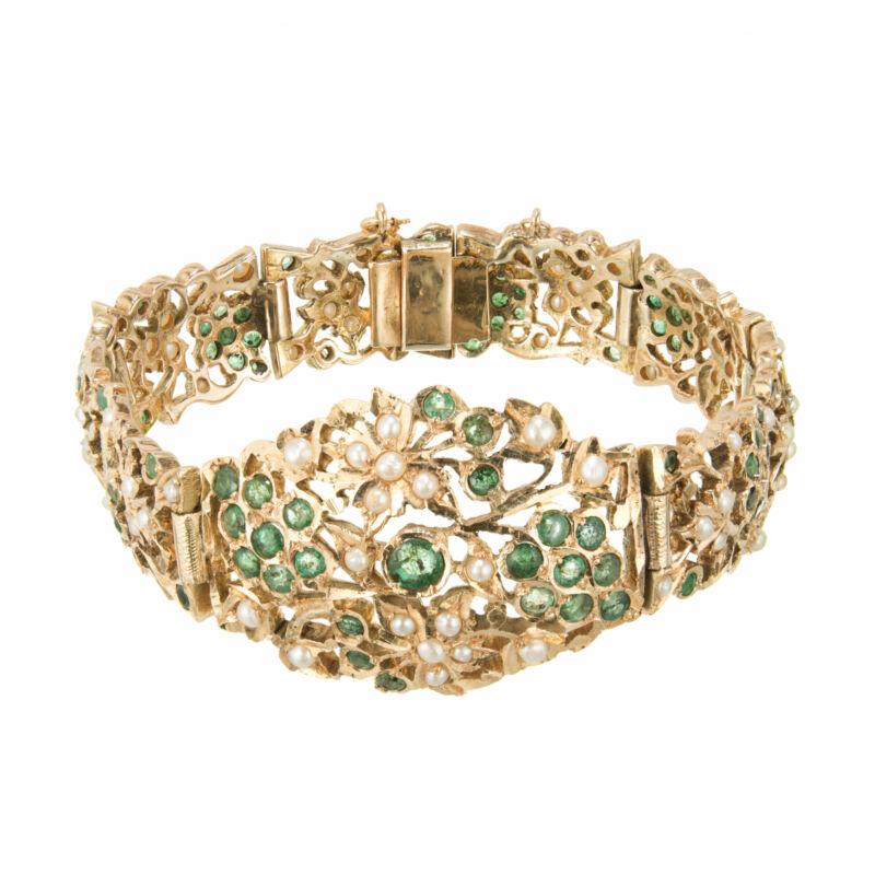 2.80 Carat Emerald Pearl Yellow Gold Bracelet