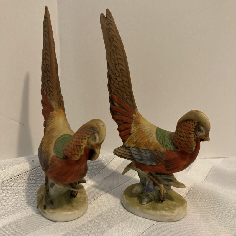 """Pr Vintage Lefton Golden Pheasant KW1529A 5 3/4"""" Lot Of 2"""