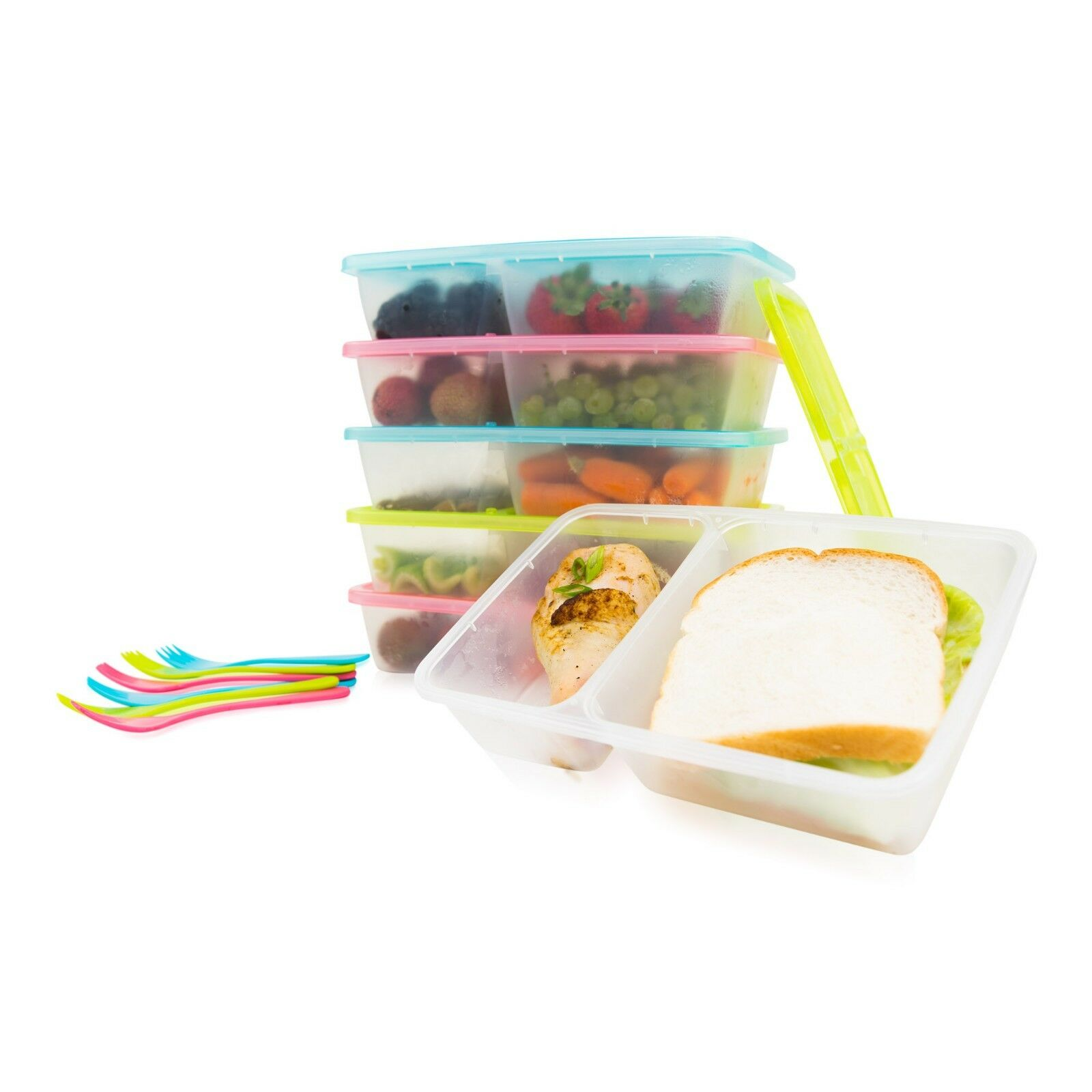 6-Pack Meal Prep Lunch Box Food Containers Set + Free Forks!!! 3