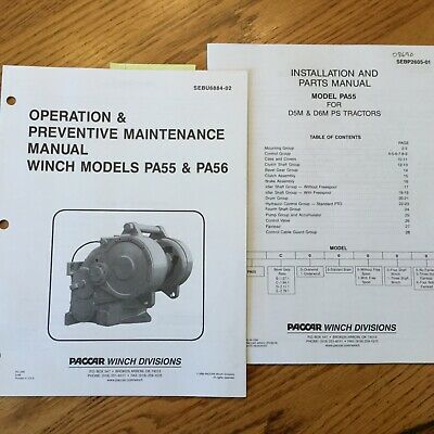Paccar Pa55 Pa56 Winch Operation Maintenance Manual Book Cat Caterpillar D5m D6m