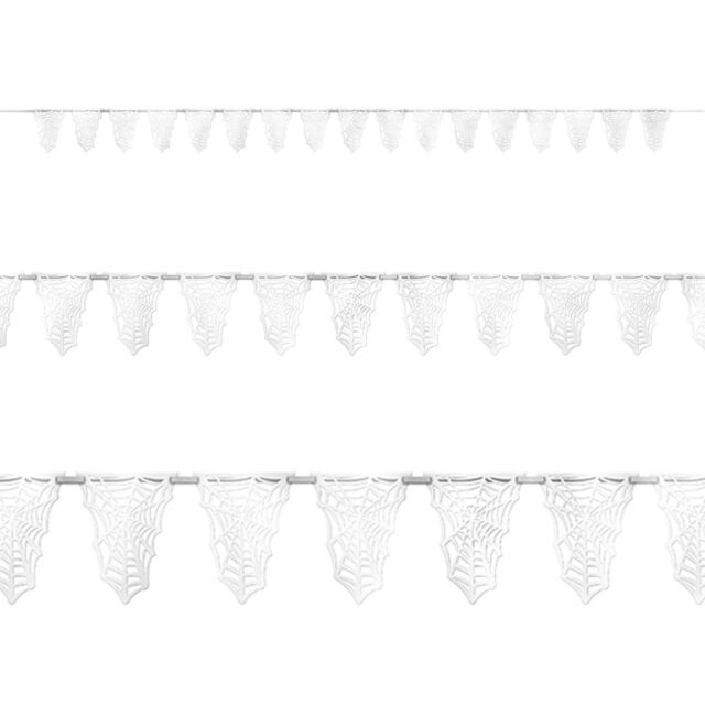 12ft Halloween White Spider Web Pennant Flag Banner Bunting Party Decoration