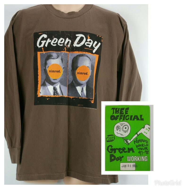 Vtg GREEN DAY 1998 Nimrod Official Concert Tour Tshirt L/S Large & RARE Pass