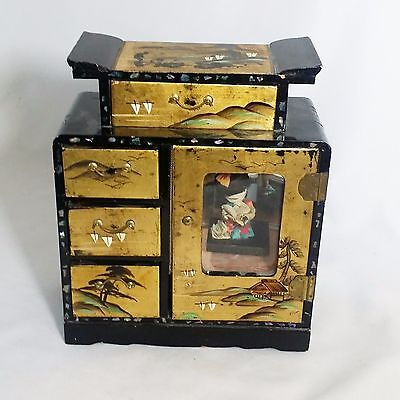 Antique Black Lacquer Jewelry Music Box UNUSUAL Shell Inlay w/Doll!  Japan 10X8