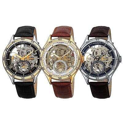 Akribos Xxiv Mens Automatic Watch - Men's Akribos XXIV AK1066 Automatic Skeleton Crocodile Style Leather Strap Watch