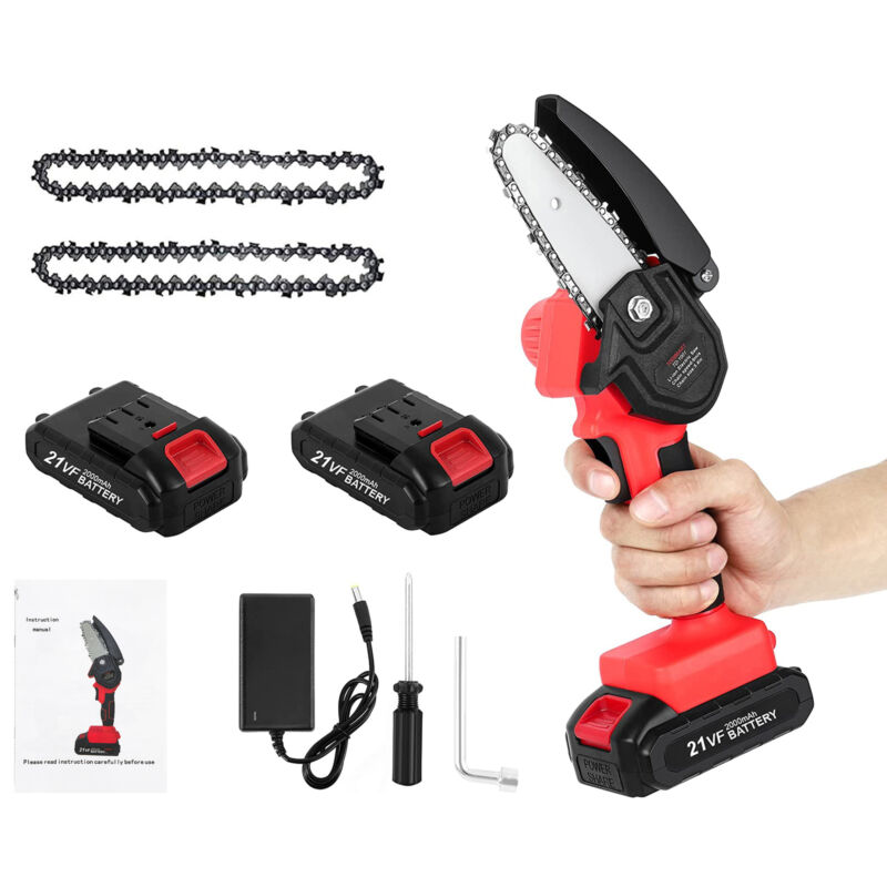 Electric Mini Chainsaw Cordless With 2Pack Battery, 2 Replacement Saw Chain