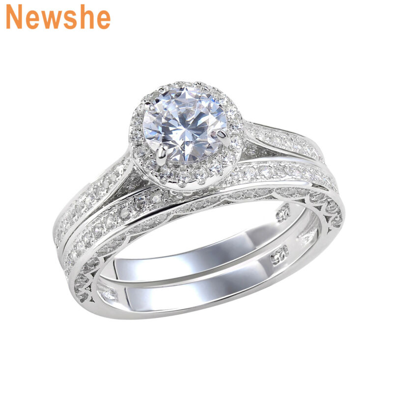 Newshe Wedding Engagement Ring Set For Women Sterling Silver 2ct Round Aaaa Cz
