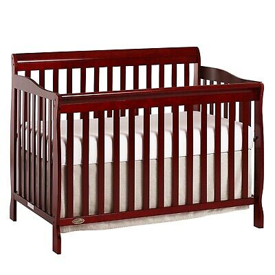 CONVERTIBLE BABY BED 5-in-1 FULL SIZE CRIB CHERRY NURSERY BEDROOM FURNITURE