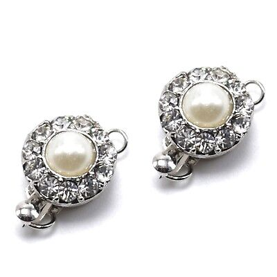 Box Closure Clasps Pearl & Crystal Single Strand Jewelry Crafting Silver Set -