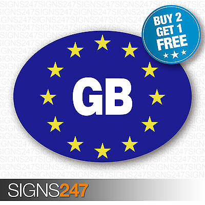 GB CAR STICKERS BLUE Oval Euro Car Van Lorry Vinyl Blue Self Adhesive GB sticker