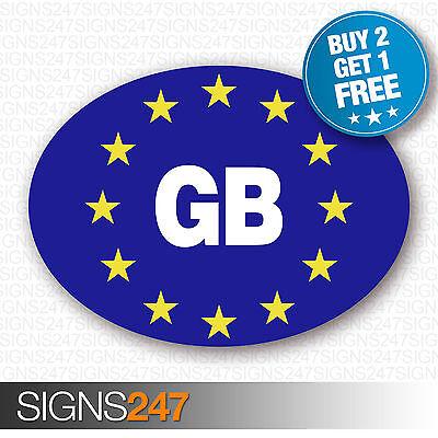 GB CAR STICKERS BLUE Oval Euro Car Van Lorry Vinyl Blue Self Adhesive EU sticker