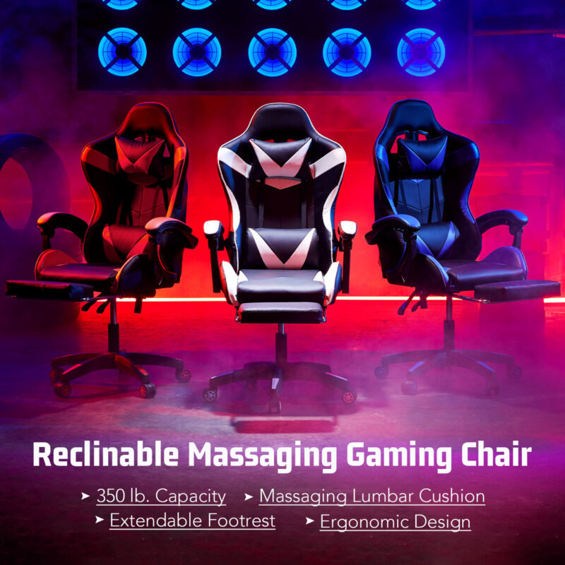 Ergonomic Computer Game Gaming Chair w Massage & Extendable Footrest for Adults