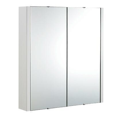 600 mm Bathroom Mirror Storage Gloss White Cabinet with Shelves | Dunn
