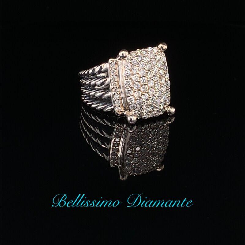 David Yurman Sterling Silver 925 16x12mm Wheaton Pave Diamond Ring size 5