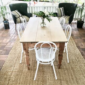 Rustic Vintage Dining Suite, Restored Antique Table, White Chairs