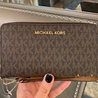 Michael Kors Jet Set Travel Large Flat Multifunction Phone Case Wallet Brown  ()