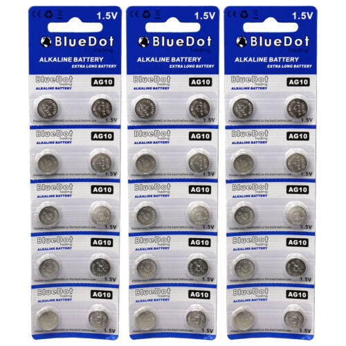 30 pcs ~ AG10 button cell alkaline batteries coin watch calculator battery size