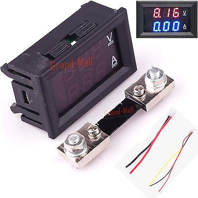 DC 100V Digital Amp Volt Meter Voltmeter Ammeter Blue Red LED Current Shunt 100A